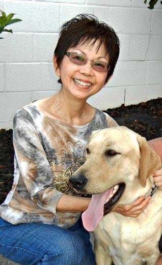 portrait of Judy Segawa and her dog, Morgan